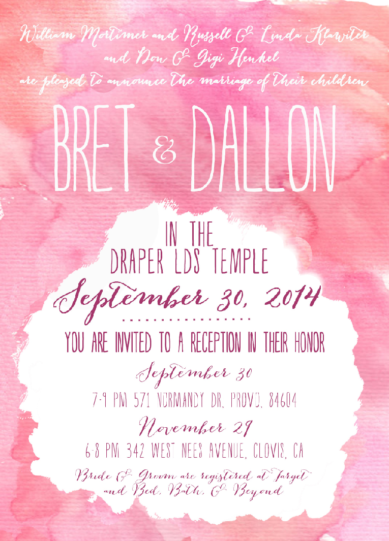 Bret & Dallon 5x7 Wedding Invitations