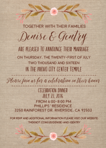 denise wedding invites