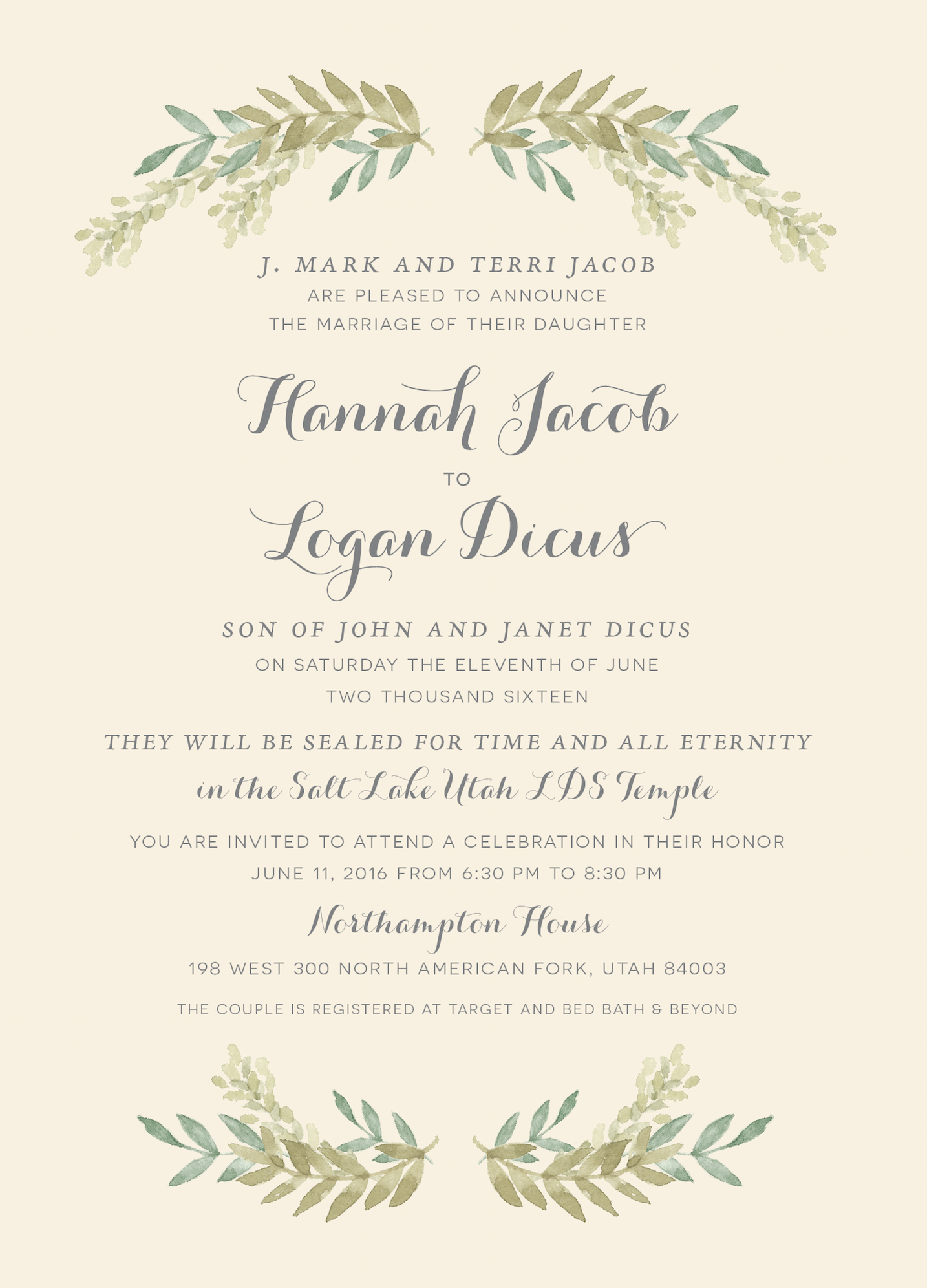 Hannah and Logan   Utah Announcements
