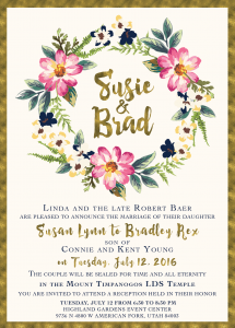 Susie Baer Front Wedding Invitations