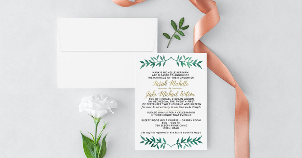 Cedar City Utah Wedding Invitations