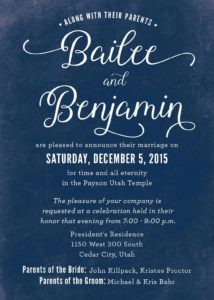 Bailee Benjamin Wedding Invitations