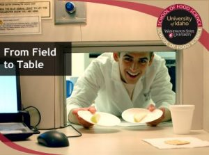 Researcher presents food samples and the words from field to table are overlaid on image