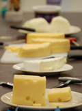 Cheese samples plated.