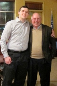 Dick and his grandson, during the retirement party