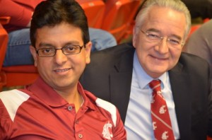 Girish Ganjyal with Ron Mittelhammer at a WSU basketball game