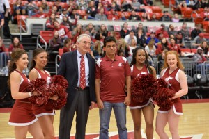 Girish Ganjyal, Ron Mittelhammer, WSU cheerleaders at a WSU basketball game