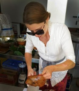 Ariane Kregger working at her internship in Bali