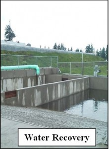 Water in concrete containment. Labelled Water Recovery