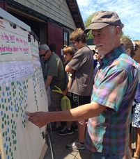 Tom Schultz conducting local market research at the San Juan Island Farmers Market