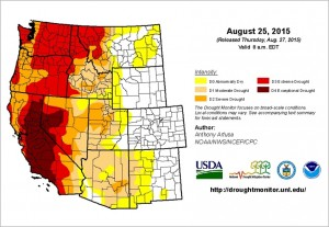 Drought conditions across the western U.S. in August 2015. Source: U.S. Drought Monitor Map Archive http://bit.ly/1mW1DxL