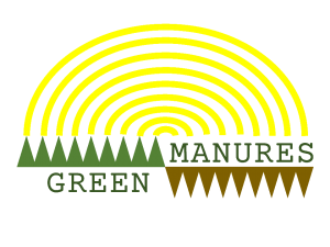 logo that reads Green Manures with yellow arcs, green triangles pointing upward and brown triangles pointing downward