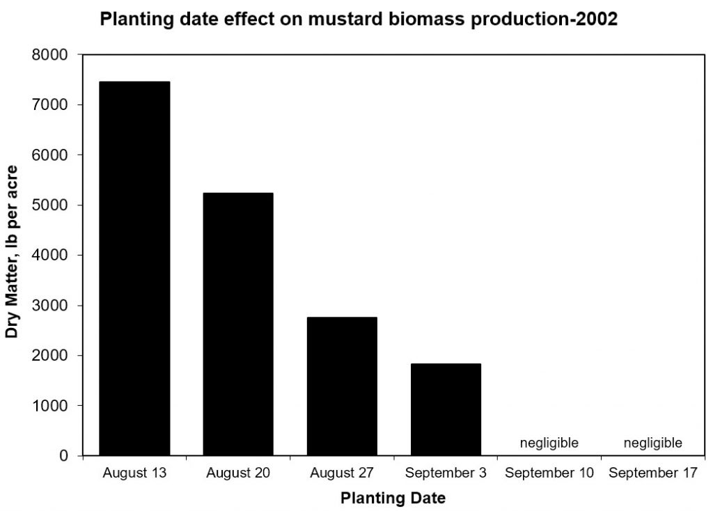 Aug 13, 7500 lb/acre dry matter; Aug 20, 5250; Aug 27, 2750; Sept 3, 1750; Sept 10 & 17, negligible.