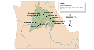 map showing study region with markers on cities: Moses Lake, WA, George, WA, Bickleton, WA, Ritzville, WA, LaCrosse, WA, Genesee, ID, and Graigmont and NezPerce ID