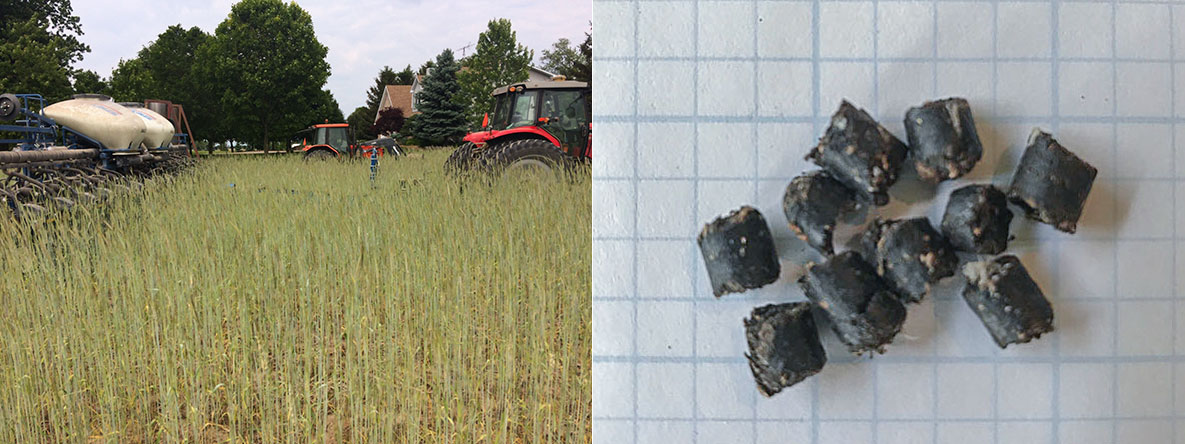 (Left) Two tractors tow planting hoppers through a field; (Right) Compost pellets on graph paper