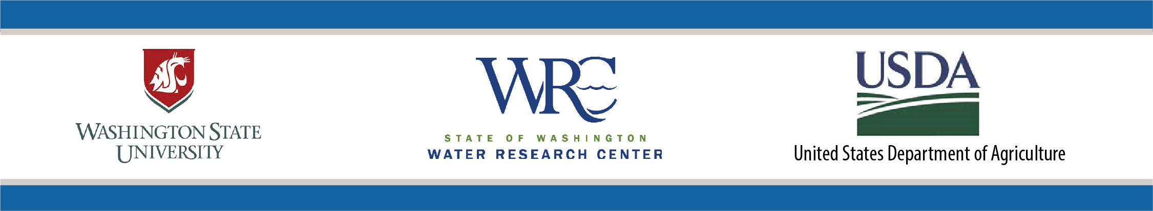 Logos for Washington State University, Washington Water Research Center, and United States Department of Agriculture