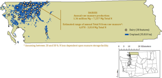 Map of dairies and cropland in Whatcom County, WA