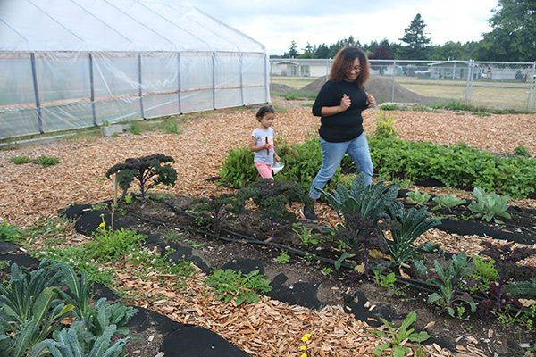 Mother and student walking down a row of Kale in the school garden..