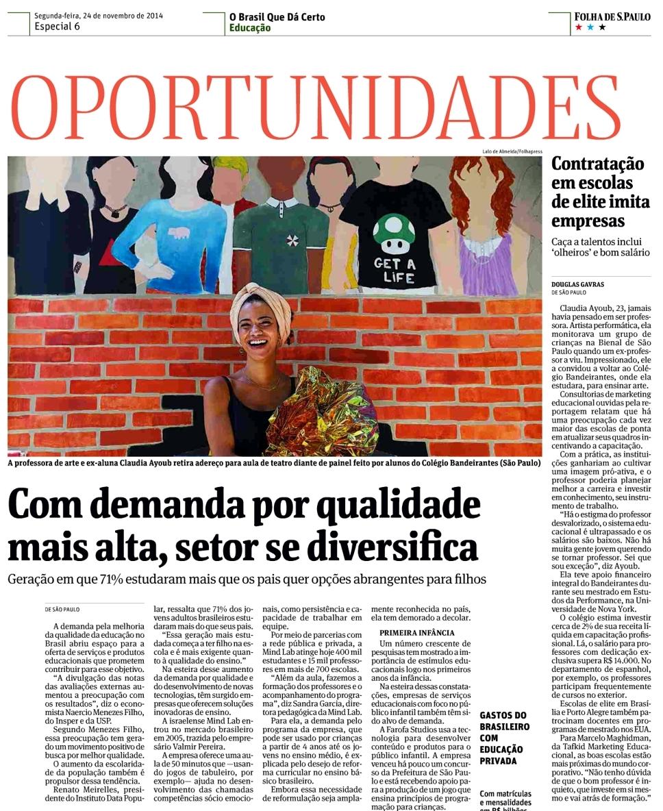 f0a5a467a5 Jornal Folha de São Paulo – Notícias (EDUCAÇÃO CONHECIMENTO ENSINO ...