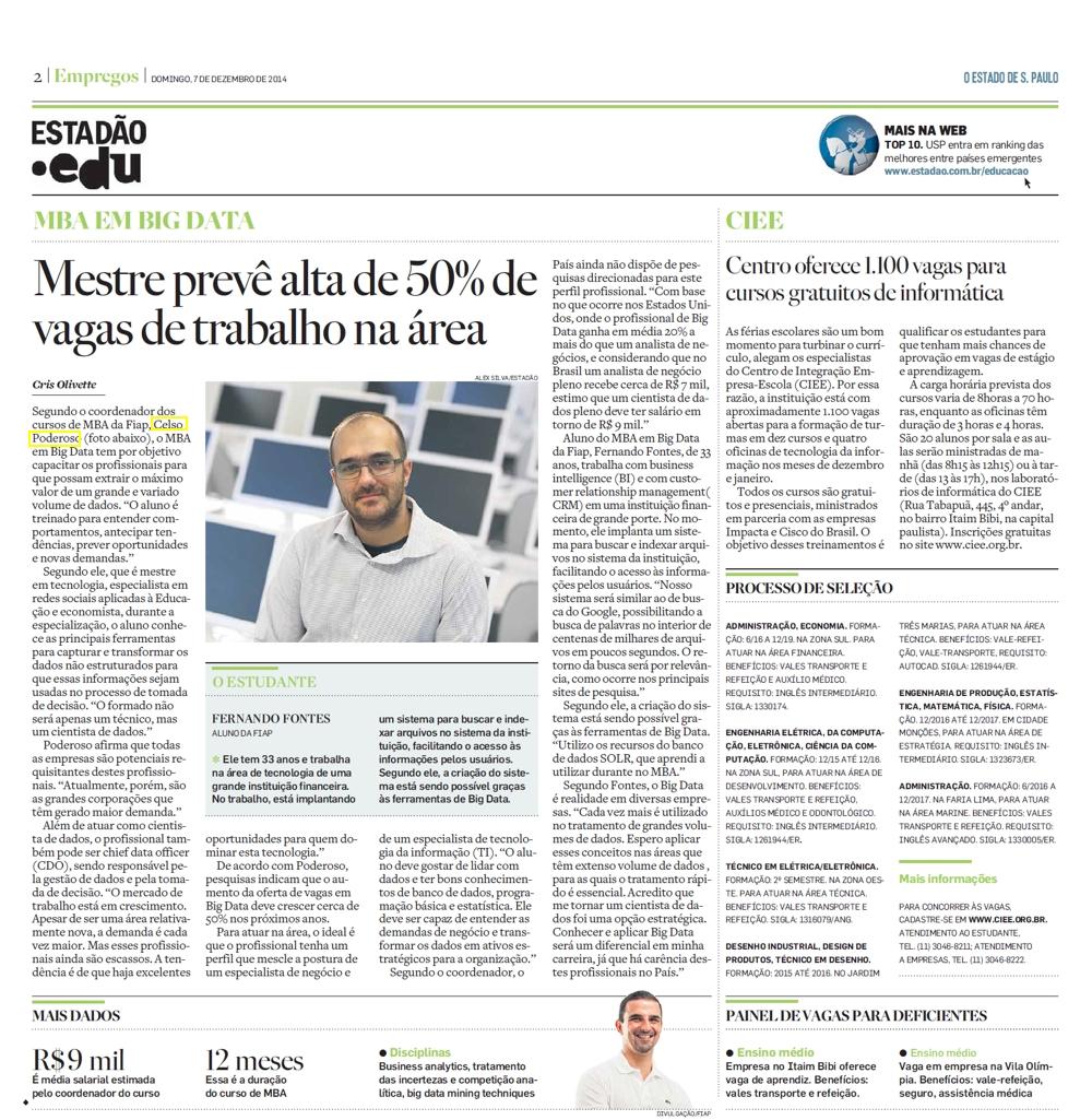 849c571511 Jornal Estado de São Paulo (Empregos) – Notícias (MESTRE PREVÊ ALTA ...
