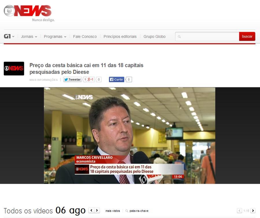 Site Globo News – Vídeo (PREÇO DA CESTA BÁSICA CAI EM 11 DAS 18