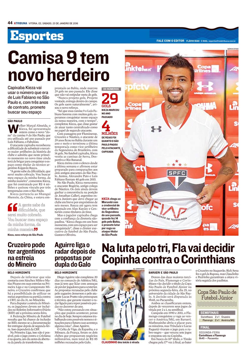 Jornal A Tribuna de Vitória – Notícias (CAMISA 9 TEM NOVO HERDEIRO – FIAP) 02681a7776c56