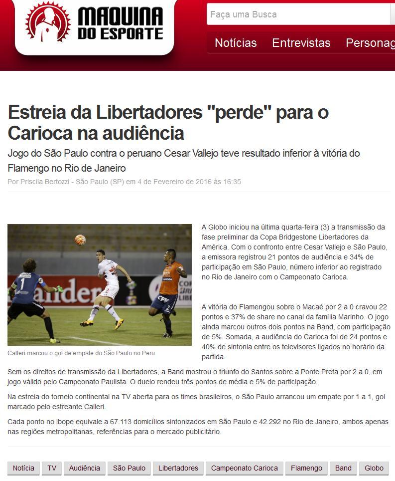 """77761b386 Site Máquina do Esporte – Notícias (ESTREIA DA LIBERTADORES """"PERDE"""" PARA O  CARIOCA NA AUDIÊNCIA – FIAP)"""