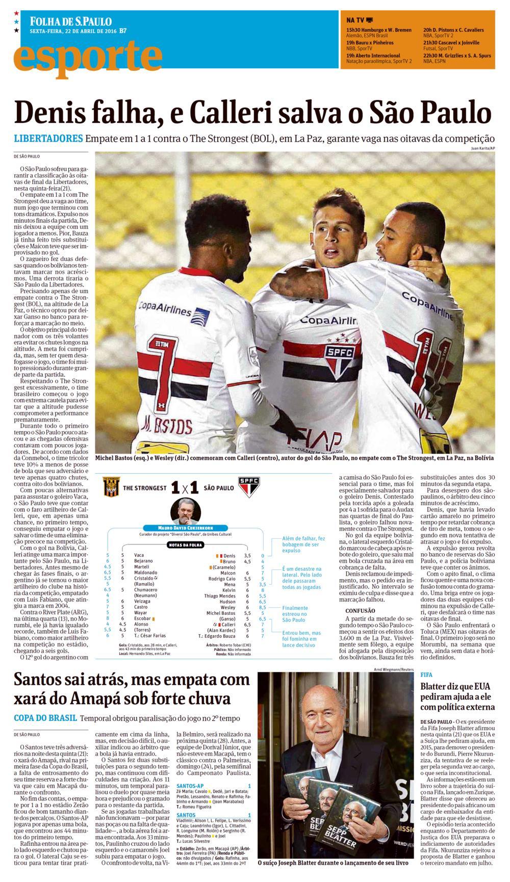 f8b5363b84 Jornal Folha de S. Paulo – Notícias (DENIS FALHA, E CALLERI SALVA O ...