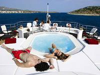 Relaxing on mega yacht