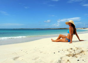 Relaxing on Exuma Island Beach after a long day yachting.