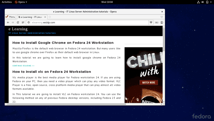 Install Opera Web Browser on Fedora Linux 24
