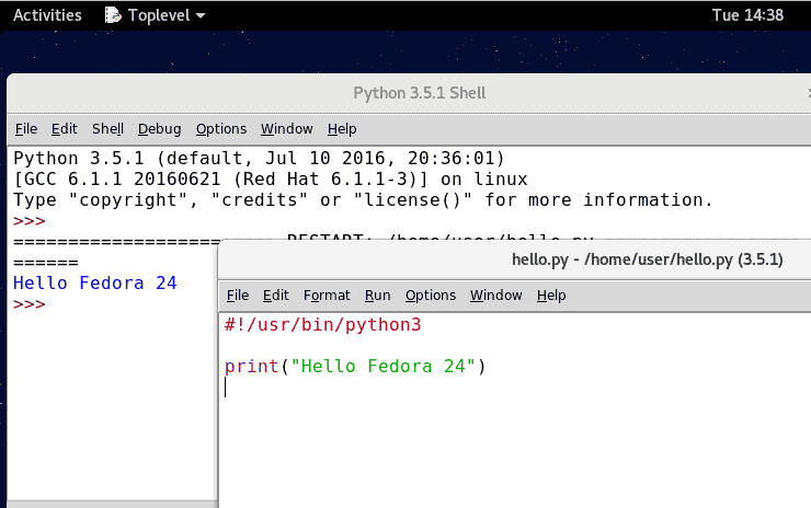 Install Python idle IDE on Fedora 24 Workstation