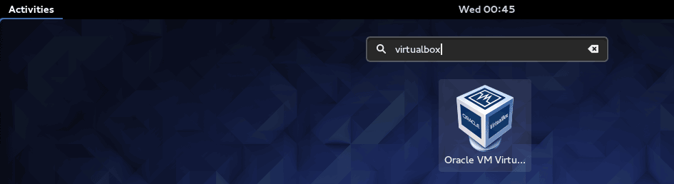 Open Fedora VirtualBox