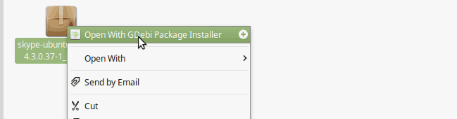 Install skype using GDebi Package installer