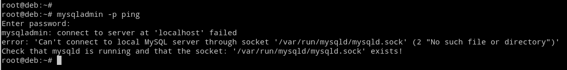 mysqladmin: connect to server at 'localhost' failed