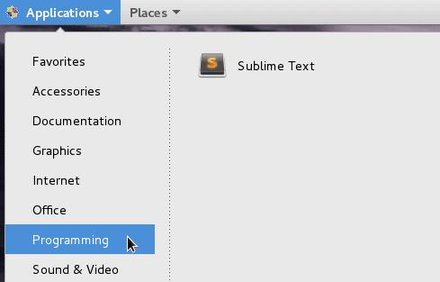 CentOS sublime 3 menu icon