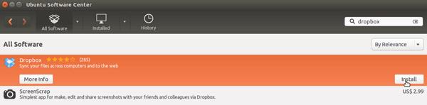 install dropbox app using Ubuntu Software Center