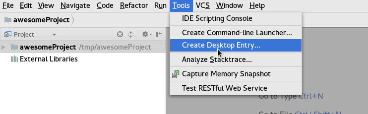 create desktop Entry