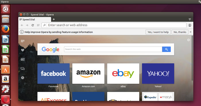Opera on Ubuntu Desktop 14.04