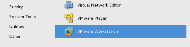 open VMware workstation from CentOS 7 Application menu
