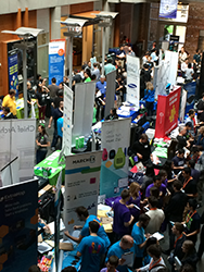 Company recruiting in Allen Center Atrium