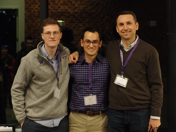 Madrona Prize winners Joseph Janizek (left) and Gabriel Erion (center) of the CoAI team with Madrona's Tim Porter