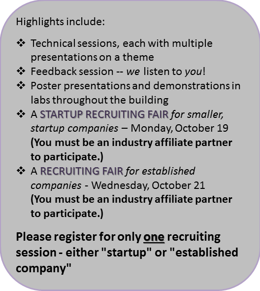 Graphic that lists industry affiliate meeting highlights