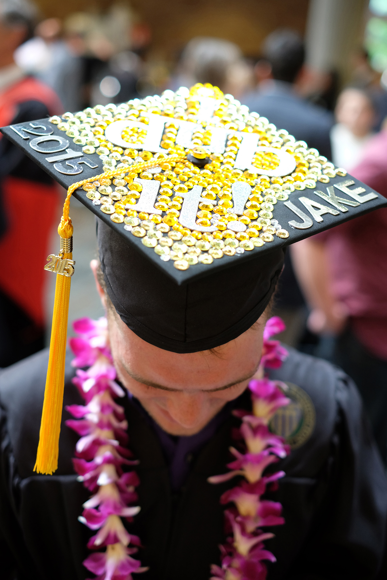 A new graduate with his decorated cap