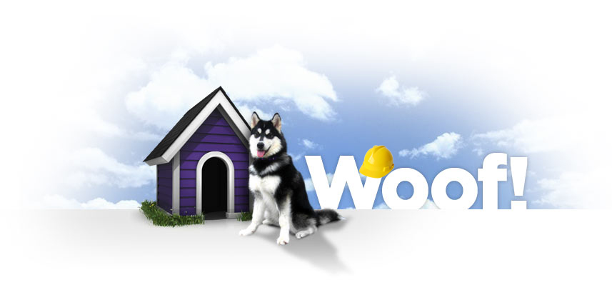 Dubs the UW mascot seated in front of a dog house next to the word Woof! with a construction hardhat hanging off part of the letter W