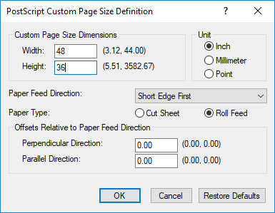 figure 4 left selecting postscript custom page size right setting the print size