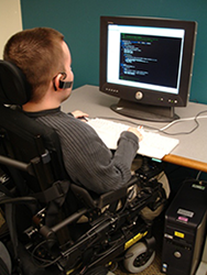 Student with disability at computer