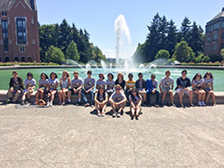 DawgBytes summer camp participants by Drumheller Fountain
