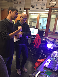 Shwetak Patel in the UbiComp Lab with Microsoft CEO Satya Nadella