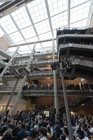 CSE atrium during Bill Gates talk